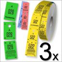 Boletos de vestimenta de tres partes en formato de rollo