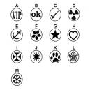 Diferentes diseños de sellos de goma en stock