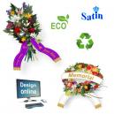 Diseñar cintas de ramo en línea con texto y logotipo