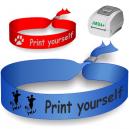 Pulseras textiles impresas en una impresora de transferencia térmica JMB4+. Utilizado como pulseras festival