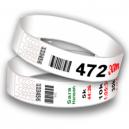 Pulseras de números de carrera con código de barras y numeración secuencial