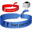 Pulseras textiles impresas en una impresora de transferencia térmica JMB4. Utilizado como pulseras festival
