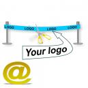 Envíe su diseño de una cinta de inauguración con logotipo y texto